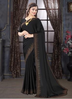 Satin Ceremonial Black Classic Designer Saree