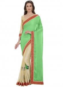 Satin Cream and Green Designer Half N Half Saree