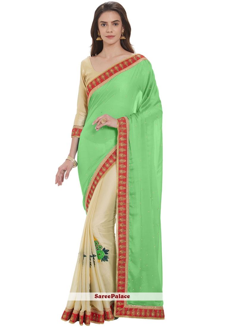 Satin Cream and Green Designer Half N Half Saree