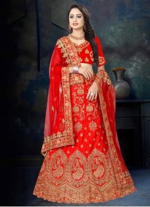 Satin Designer Lehenga Choli in Red