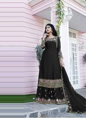 Satin Designer Pakistani Suit in Black
