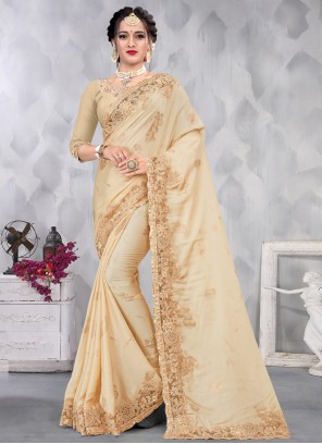 Satin Beige Designer Saree