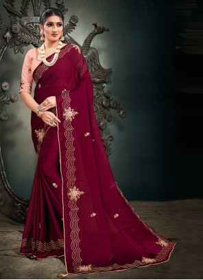Magenta Satin Designer Saree