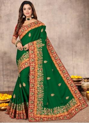 Satin Designer Green Traditional Saree