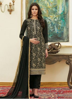 Satin Embroidered Black Pant Style Suit