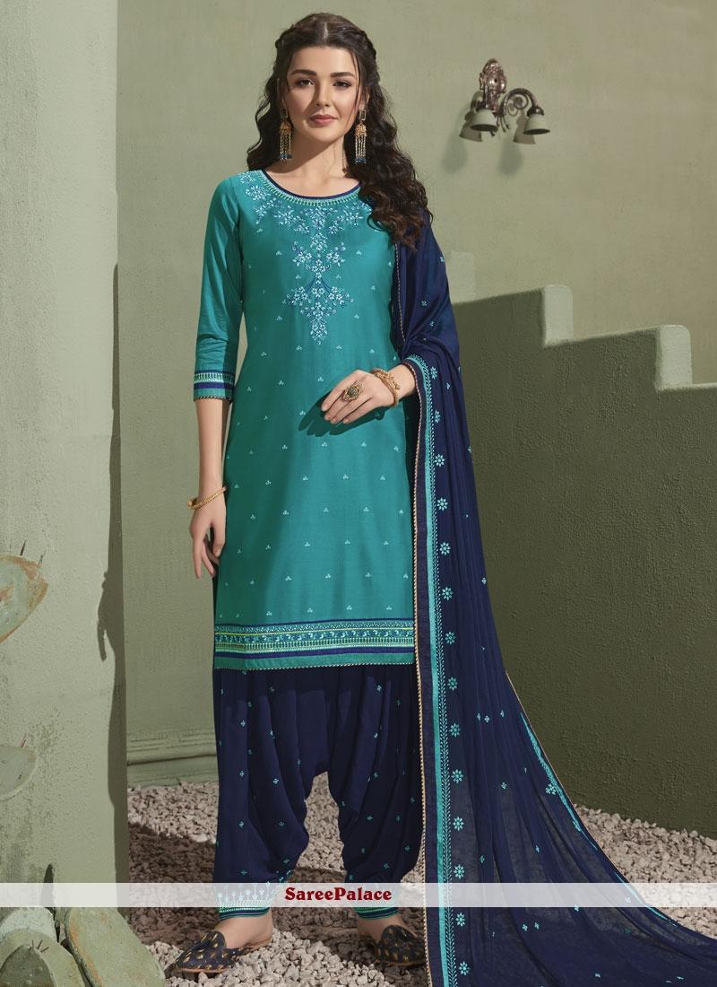 Satin Embroidered Blue Salwar Kameez
