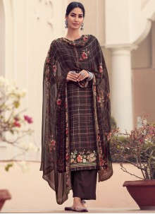Satin Embroidered Brown Designer Palazzo Suit