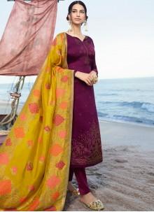 Satin Embroidered Churidar Salwar Suit