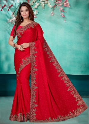 Satin Embroidered Classic Designer Saree in Red