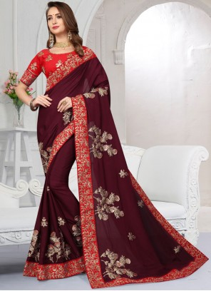 Maroon Satin Embroidered Classic Saree