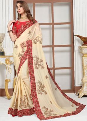 Cream Satin Embroidered Classic Saree