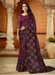 Purple Satin Embroidered Contemporary Saree