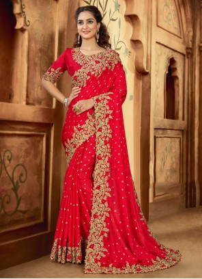 Satin Embroidered Red Contemporary Saree