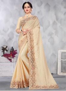 Satin Embroidered Cream Designer Saree