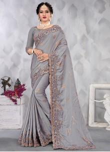 Satin Embroidered Designer Saree in Grey