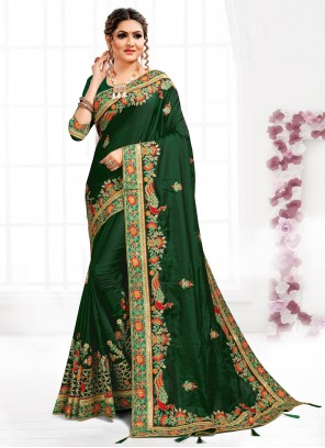 Satin Embroidered Green Designer Traditional Saree