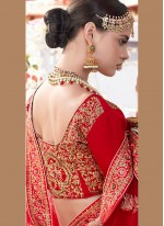 Satin Embroidered Lehenga Choli in Red