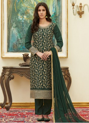 Green Satin Embroidered Pant Style Suit