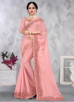 Satin Embroidered Pink Designer Saree