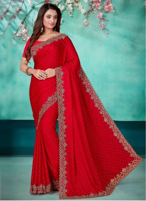 Satin Embroidered Red Designer Saree