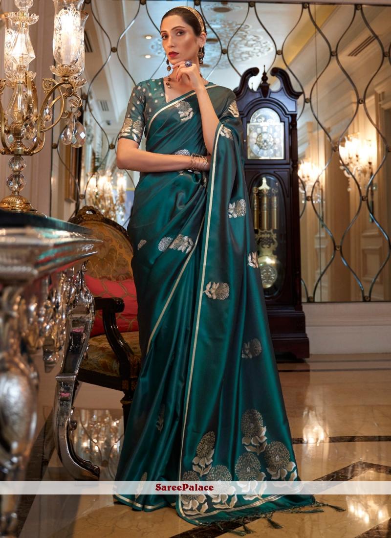 Green Satin Festival Designer Traditional Saree