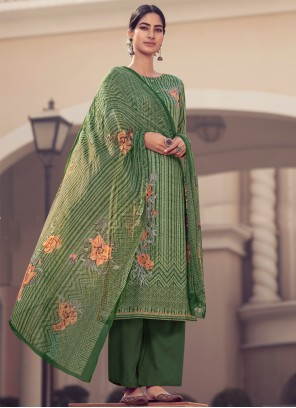 Satin Green Embroidered Designer Palazzo Suit