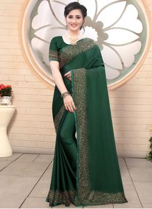 Satin Green Trendy Saree