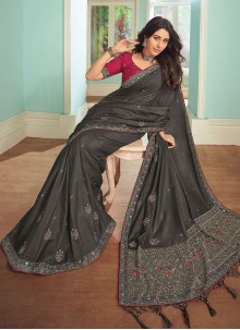 Satin Grey Embroidered Trendy Saree