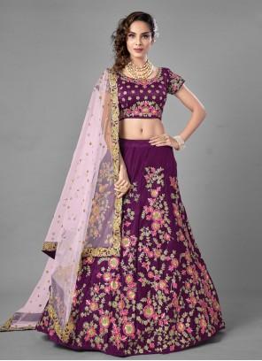 Purple Satin Sequins Lehenga Choli