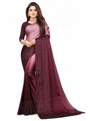 Satin Magenta Fancy Shaded Saree