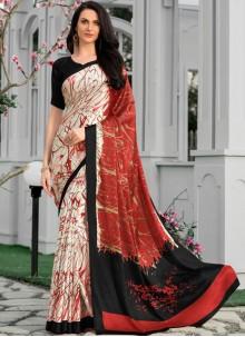Satin Multi Colour Print Printed Saree