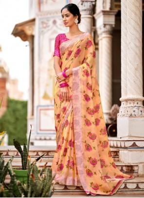Satin Multi Colour Abstract Printed Traditional Saree