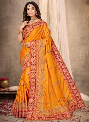 Satin Mustard Embroidered Designer Traditional Saree