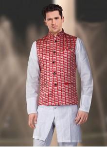 Satin Nehru Jackets in Red