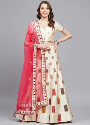 Satin Off White Embroidered A Line Lehenga Choli