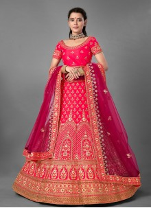 Satin Pink Designer Lehenga Choli