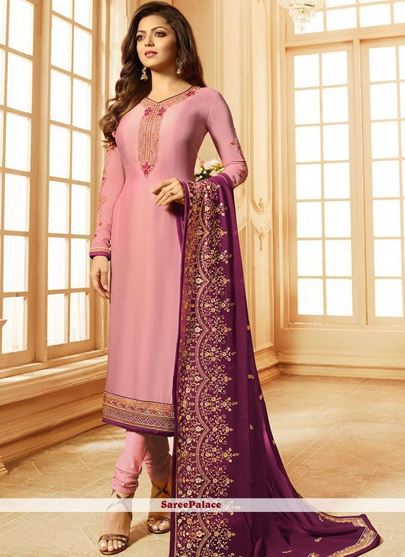 Satin Pink Embroidered Churidar Suit