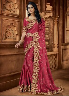Satin Pink Embroidered Classic Designer Saree