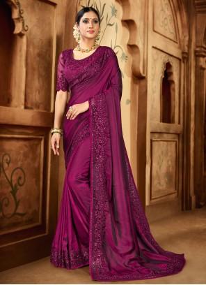 Satin Pink Resham Contemporary Saree