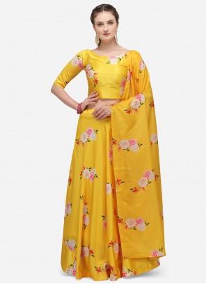 Satin Print Yellow Lehenga Choli