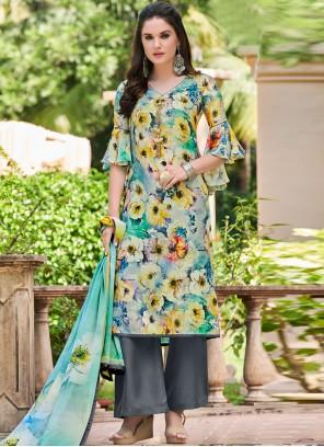 Satin Printed Multi Colour Designer Salwar Kameez