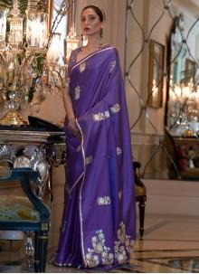 Weaving Zari Work Satin Purple Classic Saree