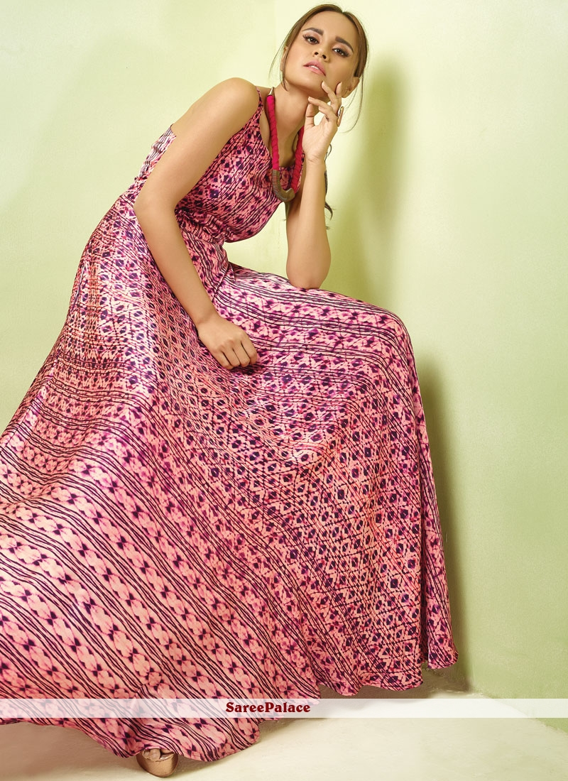 Satin Readymade Gown  in Pink