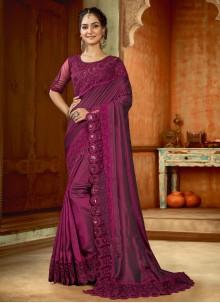 Purple Satin Reception Bollywood Saree