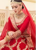 Satin Red Embroidered Lehenga Choli