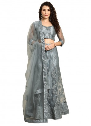 Satin Resham Grey Lehenga Choli