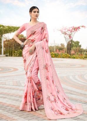 Satin Resham Pink Classic Saree