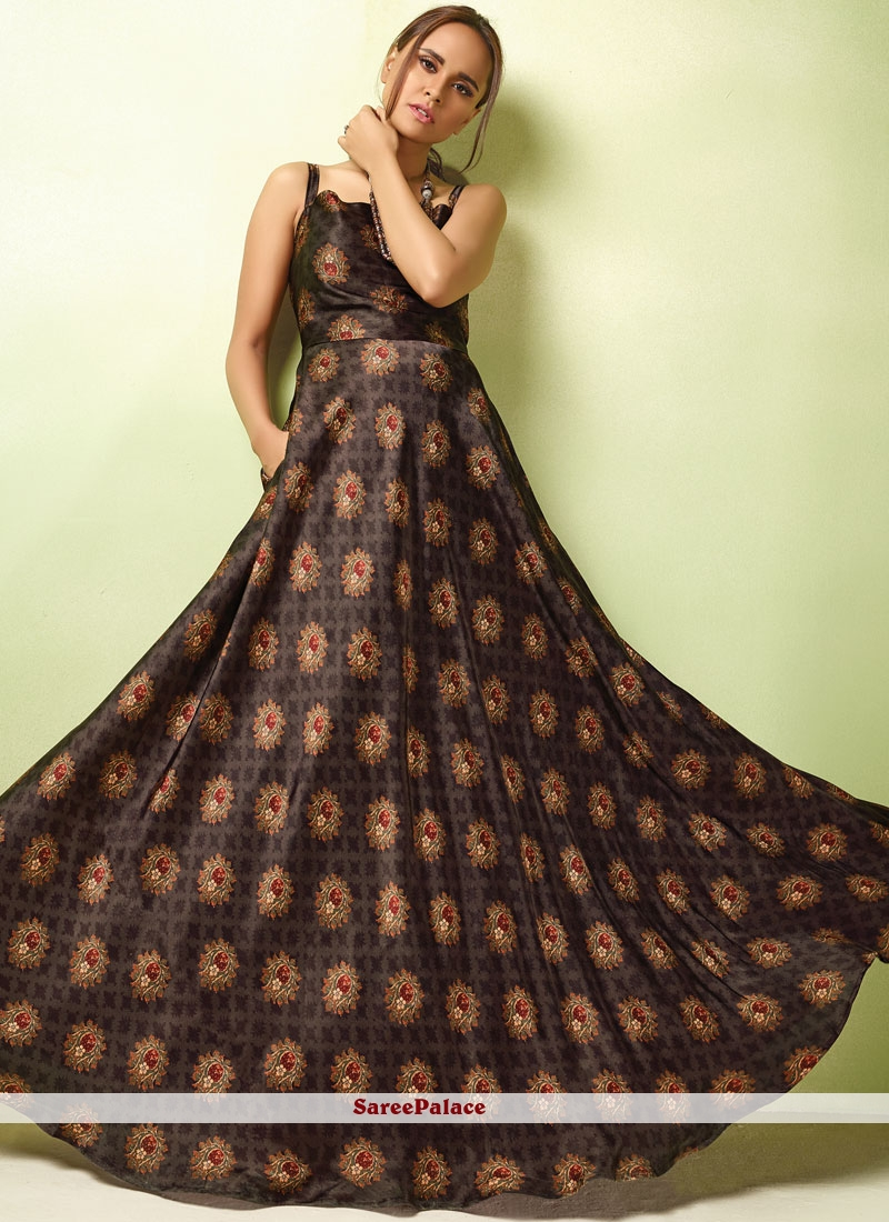 Satin Resham Readymade Gown  in Brown
