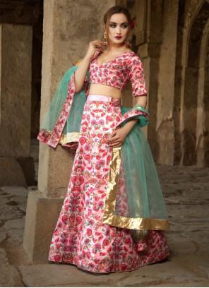 Satin Rose Pink Digital Print Lehenga Choli