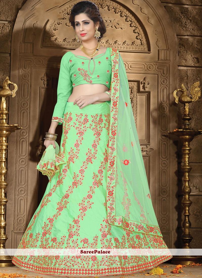 Green Satin Sangeet Designer Lehenga Choli